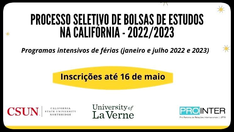 Processo seletivo de bolsas de estudos na Califórnia - 2022/2023