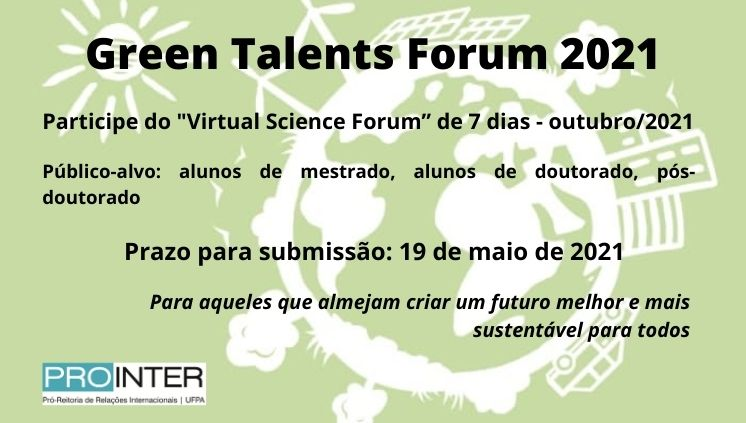 Inscrições para Green Talents Forum 2021