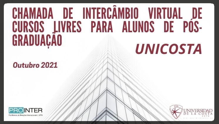 Candidaturas abertas para Mobilidade - Cursos Livres de Pós-Graduação UniCosta, Colômbia