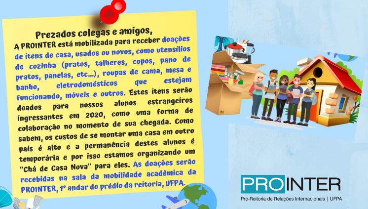 Prointer realiza campanha de arrecadação de utensílios para alunos estrangeiros